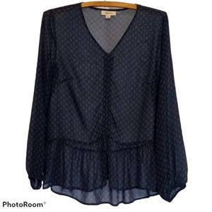 Style & Co shirt - Sheer Blue Floral Blouse w/ Bow